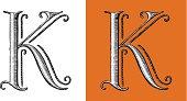 K, Letter, Alphabet, Type, Retour du rétro, lettrine,monogram, circus