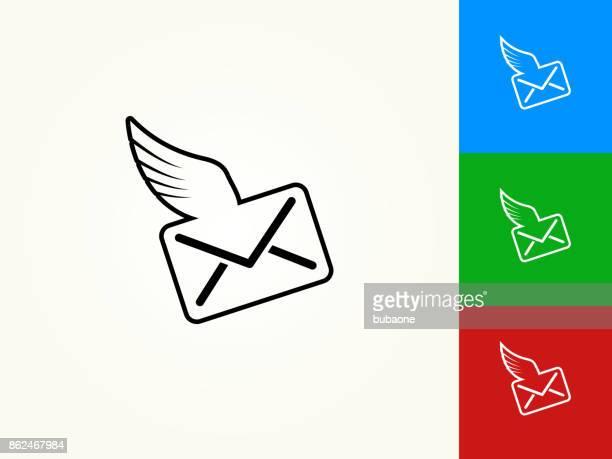brief und flügeln schwarzer strich lineare symbol - animal limb stock-grafiken, -clipart, -cartoons und -symbole