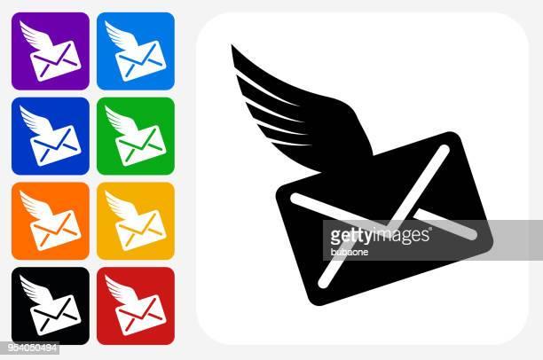 brief und flügel-symbol square buttonset - animal limb stock-grafiken, -clipart, -cartoons und -symbole