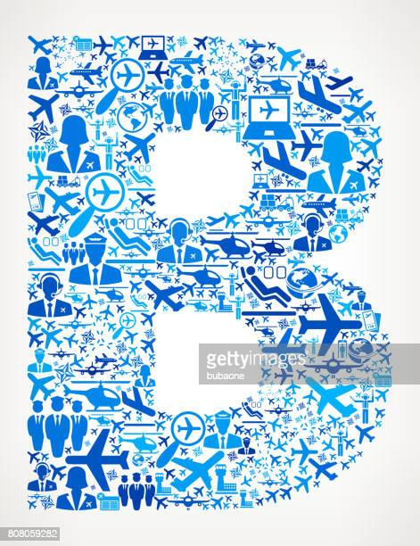 Letter B Aviation and Air Planes Vector Graphic