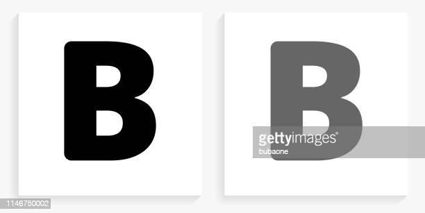 文字 b 黒と白の正方形のアイコン - アルファベットのb点のイラスト素材/クリップアート素材/マンガ素材/アイコン素材
