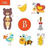 Letter B. Cartoon alphabet for children