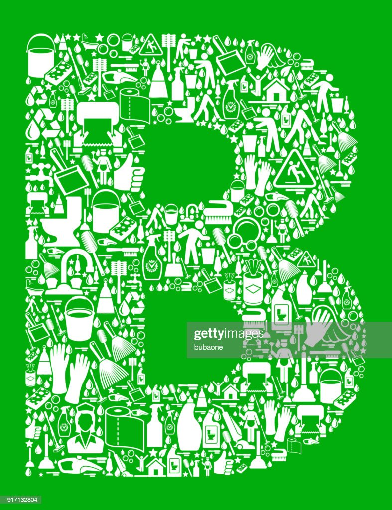 Letter B Cleaning and Chores Green Vector Icon Pattern : stock illustration