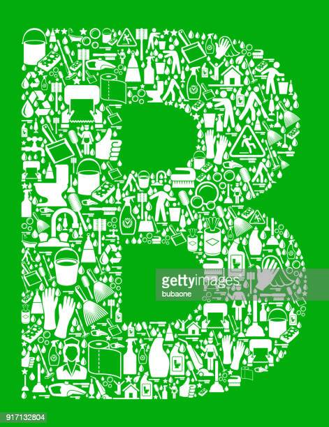 letter b cleaning and chores green vector icon pattern - paper towel stock illustrations, clip art, cartoons, & icons