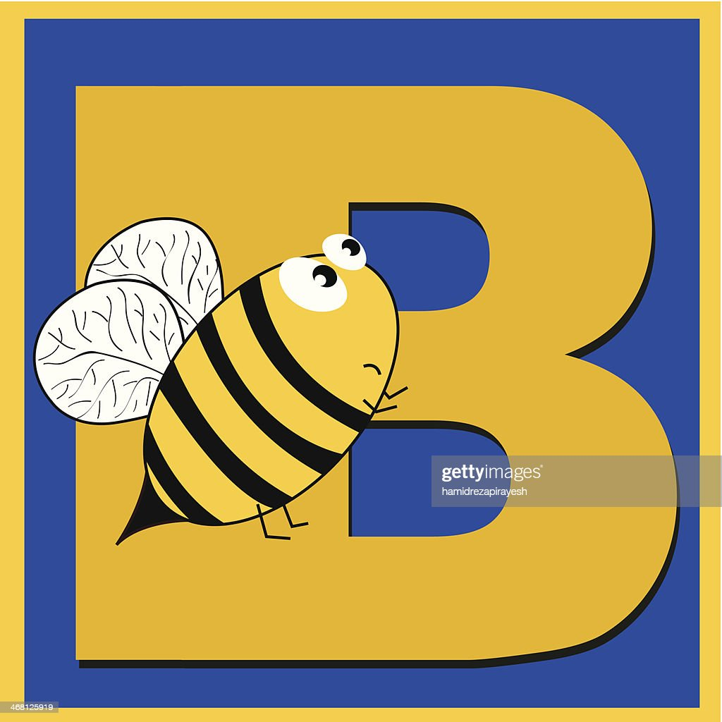 letter b for bee vector art