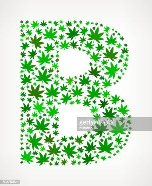 letter b on marijuana royalty free vector art pattern - marijuana leaf text symbol stock illustrations, clip art, cartoons, & icons