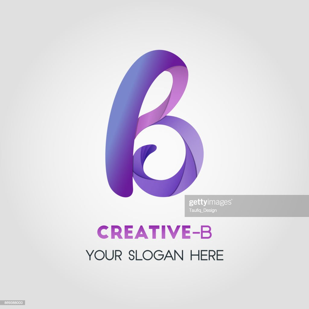 B Letter Business symbol Template With Various Purple Color And Rounded Smooth Shape Using Gradient Effect
