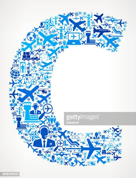 Letter C Aviation and Air Planes Vector Graphic