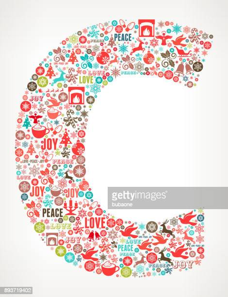 letter c chrismas holiday celebration vector icon pattern - letter c stock illustrations, clip art, cartoons, & icons