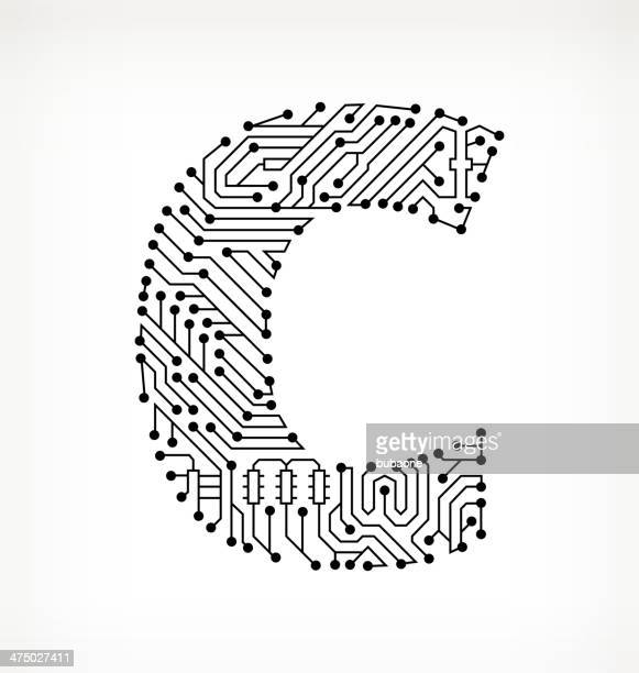 letter c circuit board on white background - letter c stock illustrations, clip art, cartoons, & icons