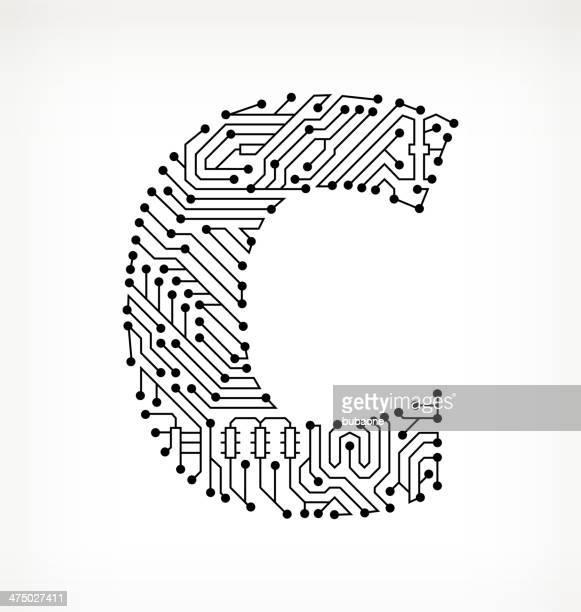 ilustrações, clipart, desenhos animados e ícones de letra c placa de circuito em fundo branco - letrac