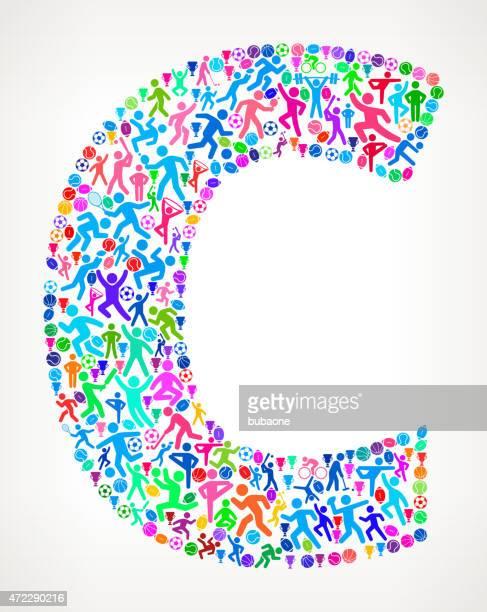 Letter C Fitness Sports and Exercise pattern vector background