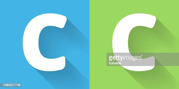 letter c icon with long shadow - letter c stock illustrations, clip art, cartoons, & icons