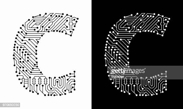 ilustrações, clipart, desenhos animados e ícones de letra c em preto e branco placa de circuito fonte - letrac