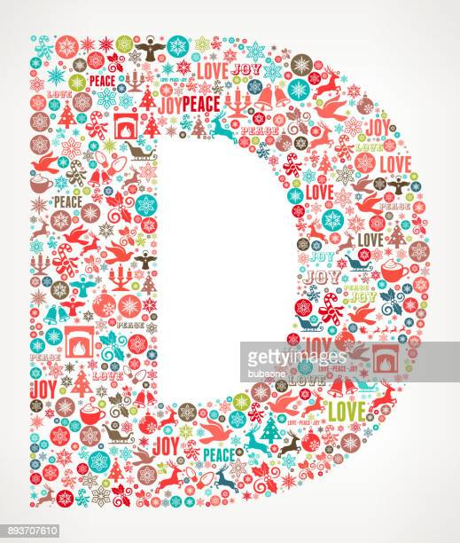 letter d chrismas holiday celebration vector icon pattern - letter d stock illustrations, clip art, cartoons, & icons