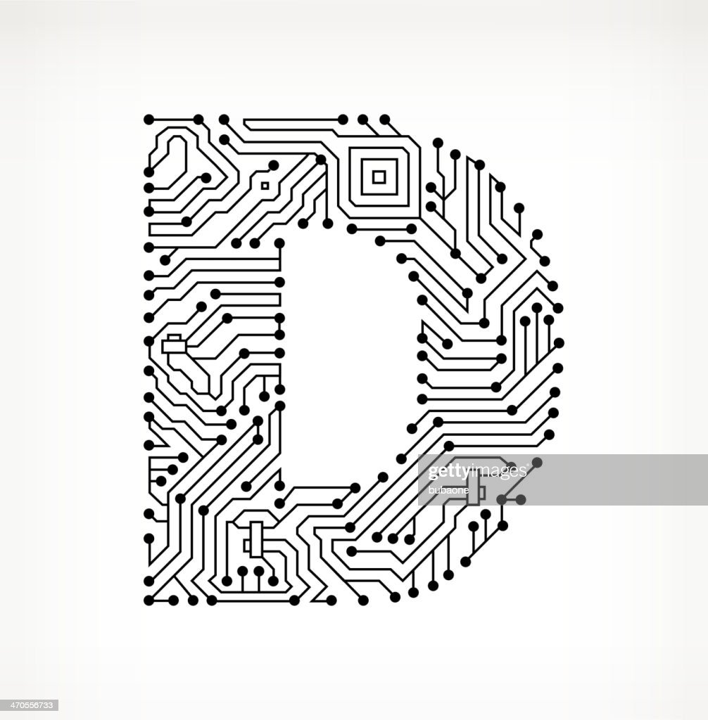 letter d circuit board on white background high-res vector graphic