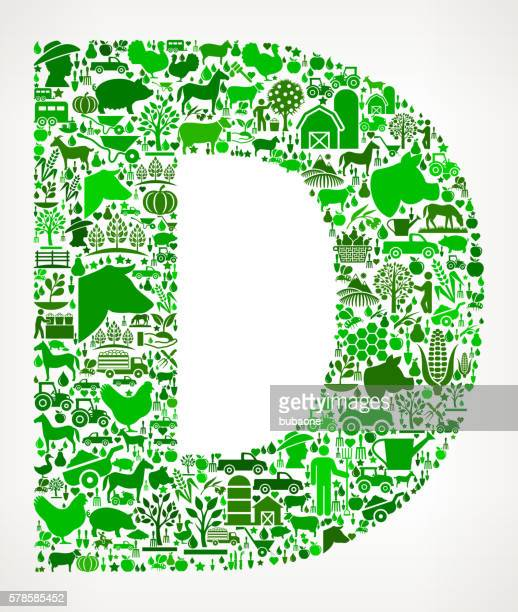 letter d farming and agriculture green icon pattern - letter d stock illustrations, clip art, cartoons, & icons
