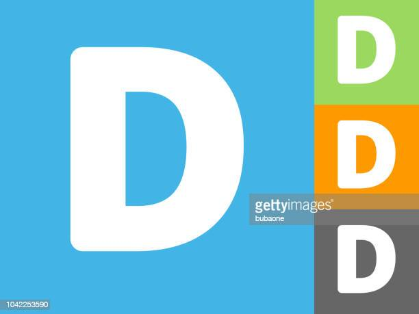 letter d flat icon on blue background - letter d stock illustrations, clip art, cartoons, & icons