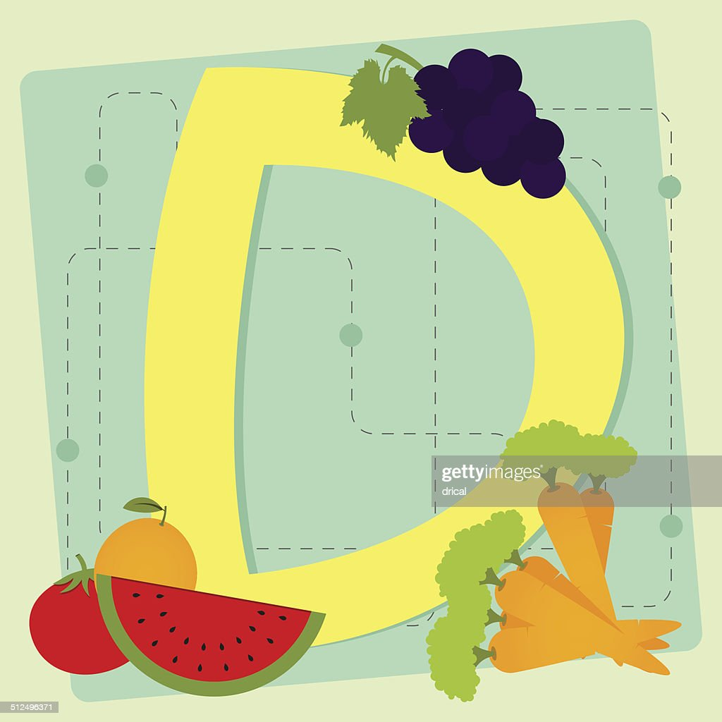 "Letter ""d"" from stylized alphabet with fruits and vegetables"