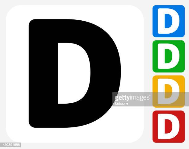 letter d icon flat graphic design - letter d stock illustrations, clip art, cartoons, & icons