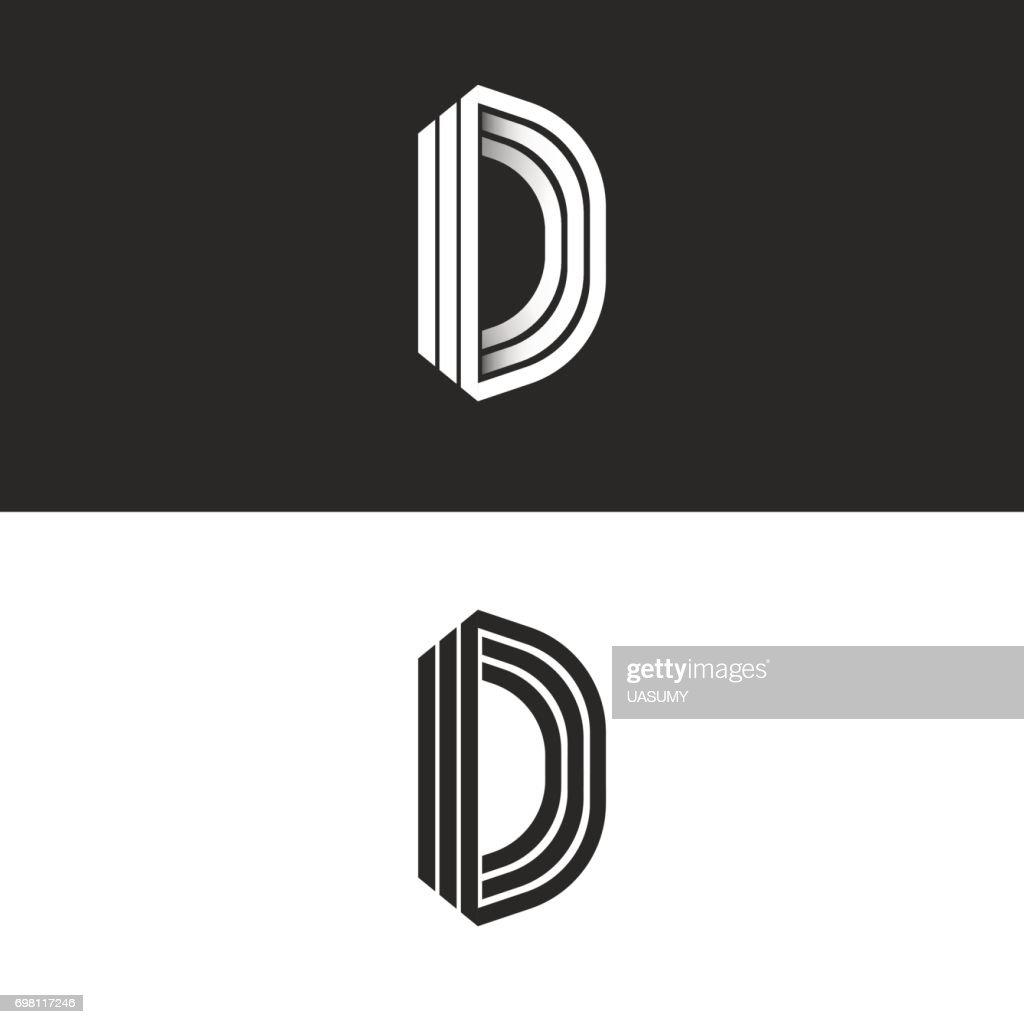 Letter D icon mockup isometric monogram, creative Idea perspective outline symbols, white thin parallel lines design element template