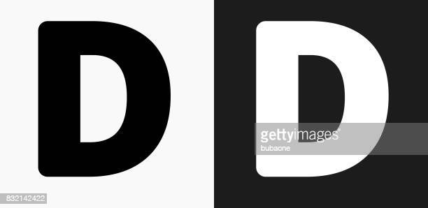 letter d icon on black and white vector backgrounds - letter d stock illustrations, clip art, cartoons, & icons