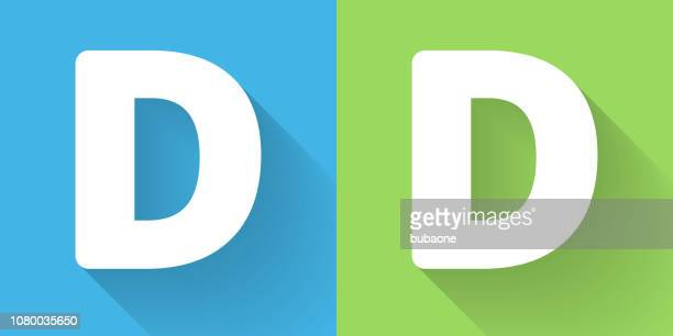 letter d icon with long shadow - letter d stock illustrations, clip art, cartoons, & icons