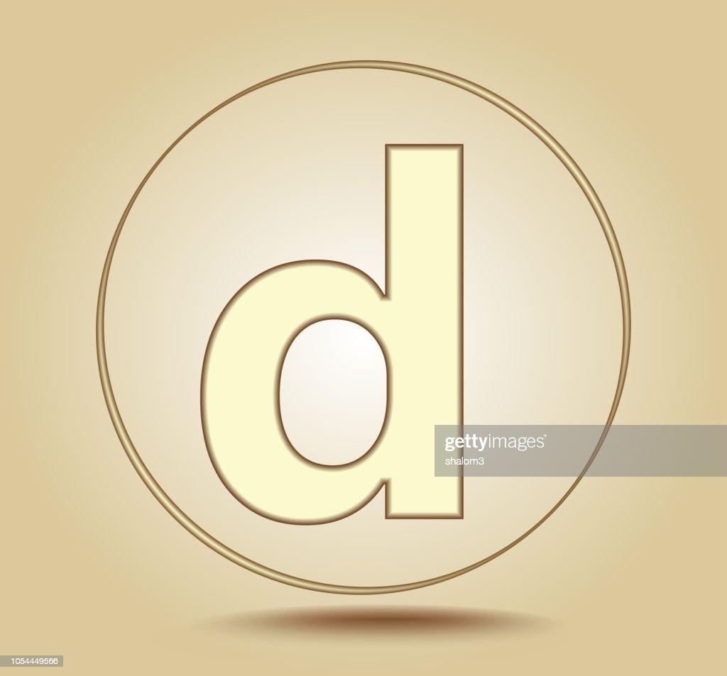 Letter D lowercase, round golden icon on light golden gradient background. Social media icon. Vector illustration