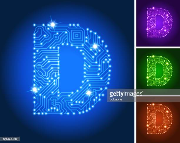 letter d on blue circuit color set - letter d stock illustrations, clip art, cartoons, & icons