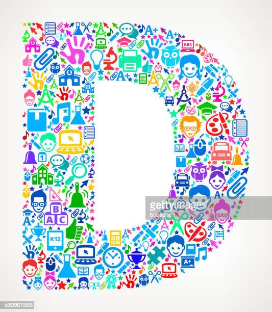 letter d school & education royalty free vector art pattern - letter d stock illustrations, clip art, cartoons, & icons