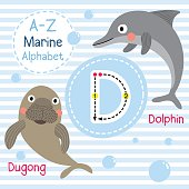 Letter D tracing. Dolphin. Dugong. Marine alphabet.