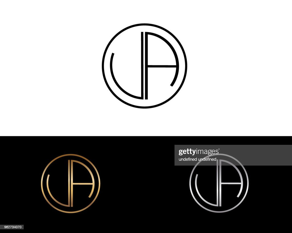 UA Letter Design Vector with Black Gold Silver Colors