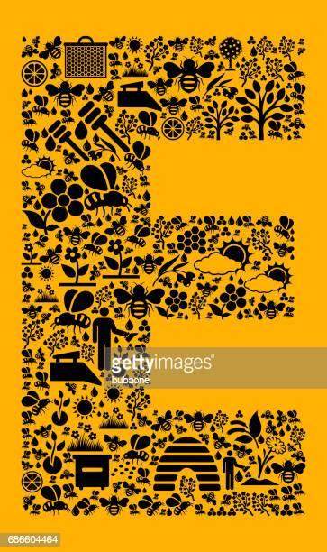 e 蜂と蜂蜜のベクトルのアイコンの背景 - %e...点のイラスト素材/クリップアート素材/マンガ素材/アイコン素材