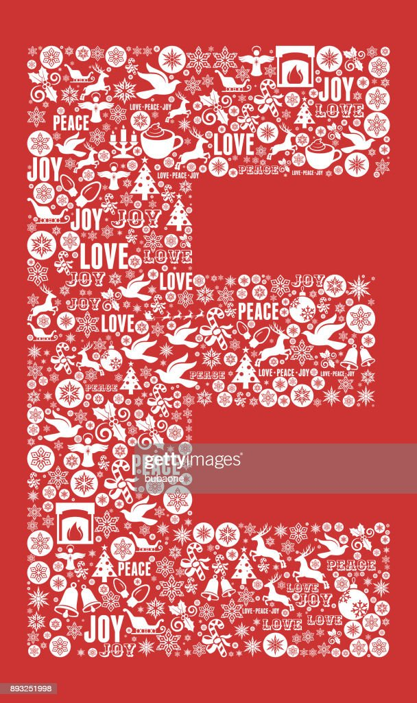 Letter E Chrismas Holiday Celebration Vector Icon Pattern Vector Art