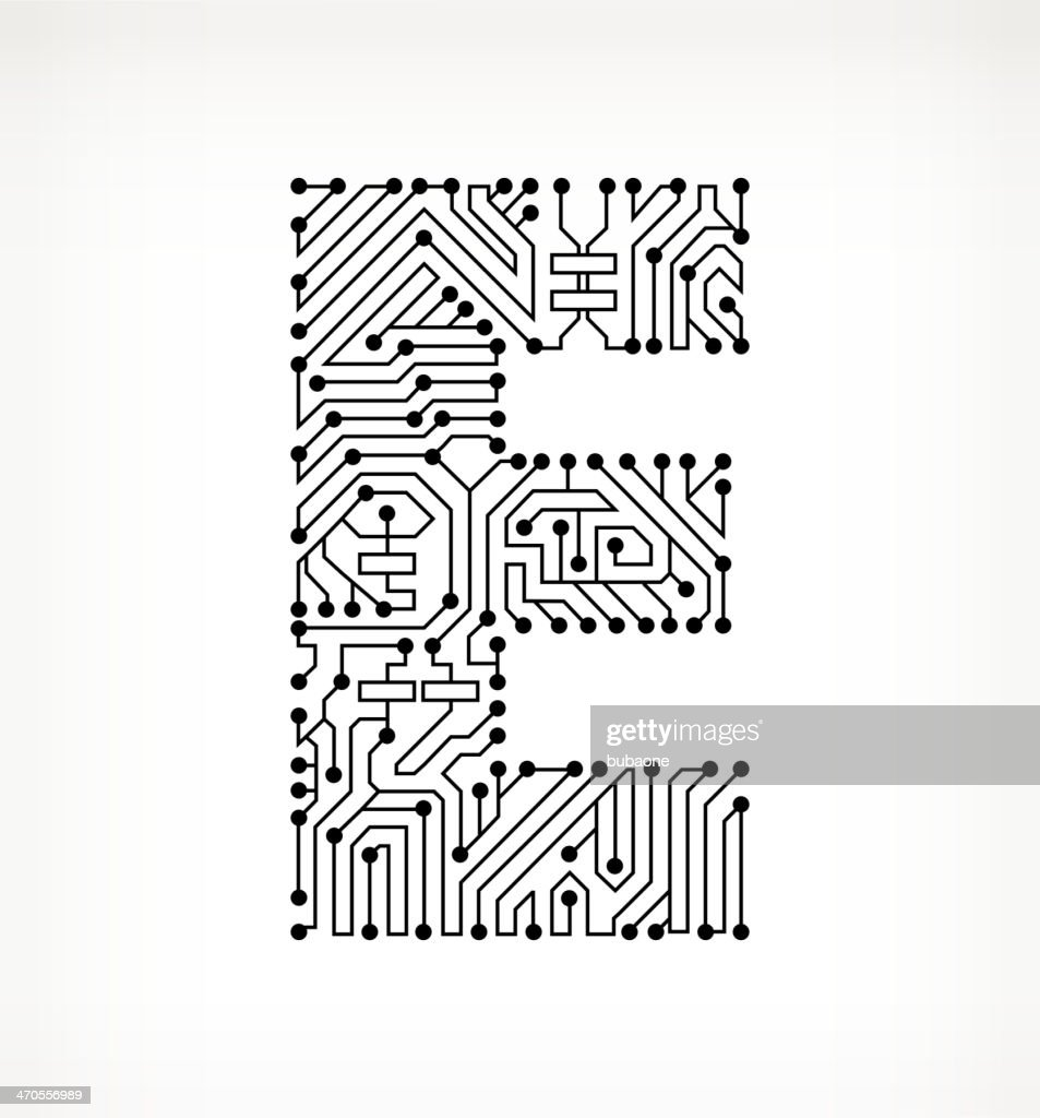 letter e circuit board on white background stock illustration