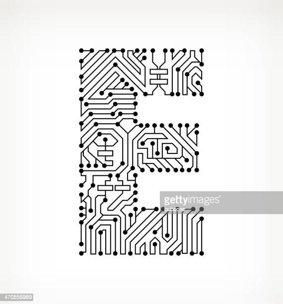 ilustraciones, imágenes clip art, dibujos animados e iconos de stock de letra e placa de circuito sobre fondo blanco - letrae