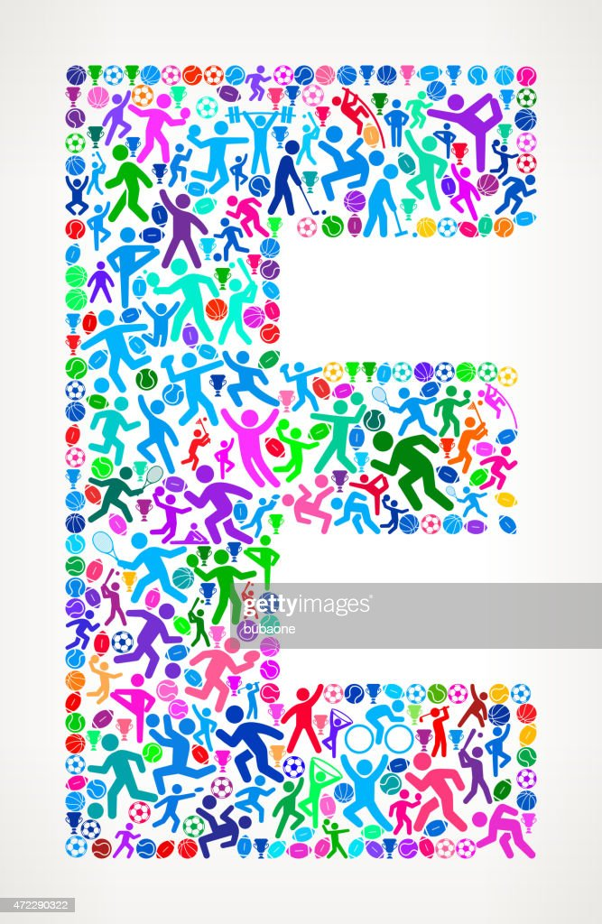 Letter E Fitness Sports And Exercise Pattern Vector Background Art