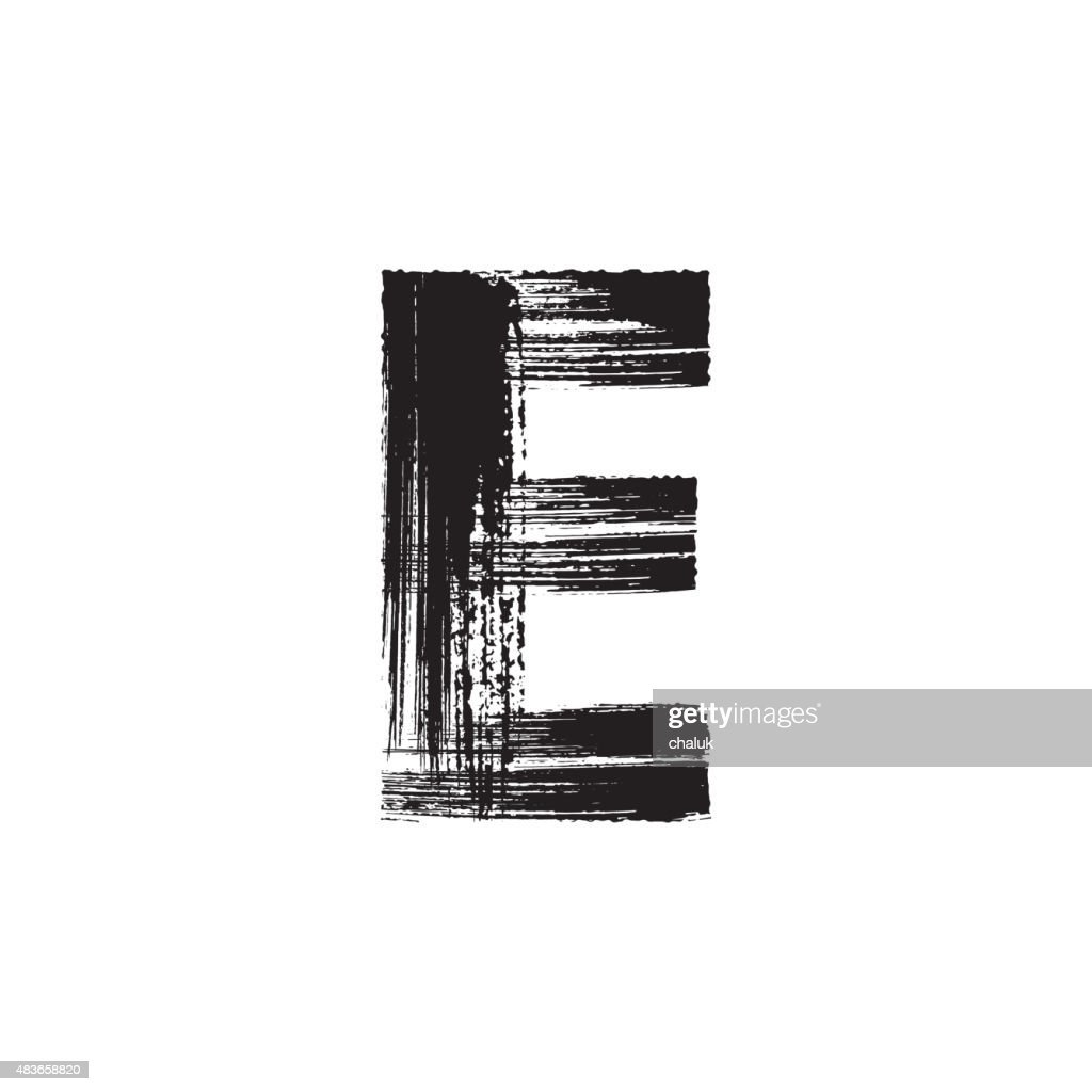 Letter E hand drawn with dry brush