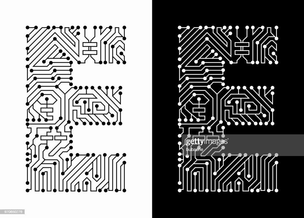 Letter E In Black And White Circuit Board Font Vector Art Getty Images