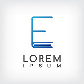 "letter ""e"" line minimal book logo design template"