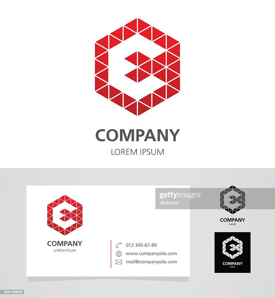 Letter E - Logotype Emblem Design Element with Business Card