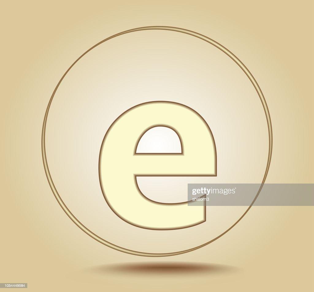 Letter E lowercase, round golden icon on light golden gradient background. Social media icon. Vector illustration