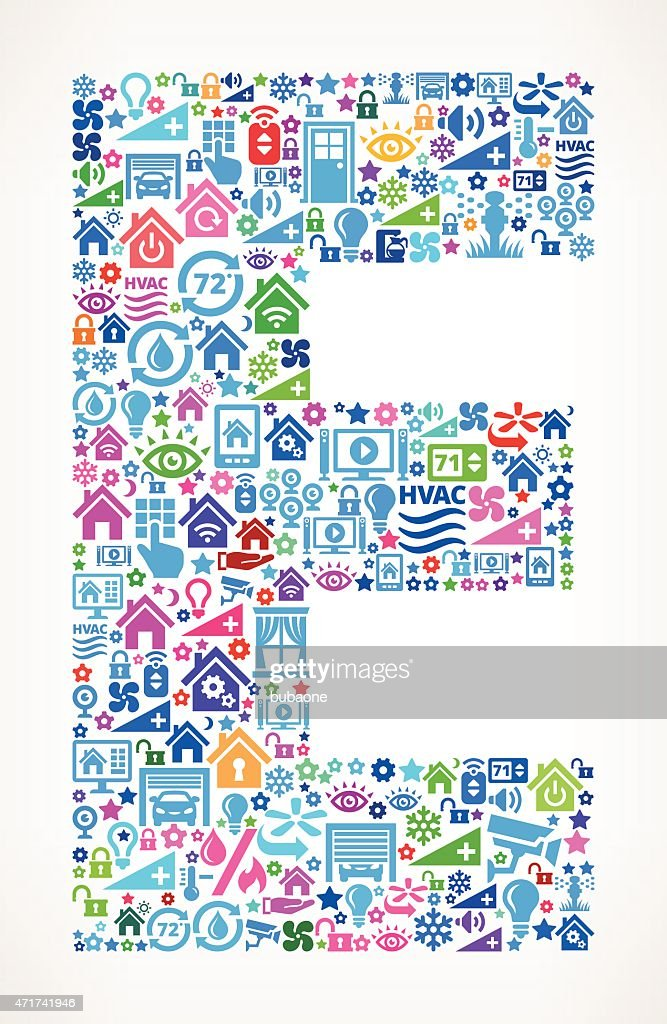 E-home Automation By Design Part - 26: Letter E On Home Automation And Security Vector Background : Vector Art