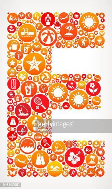 ilustraciones, imágenes clip art, dibujos animados e iconos de stock de patrón de letra e vacaciones de verano divertido vector icono - letrae