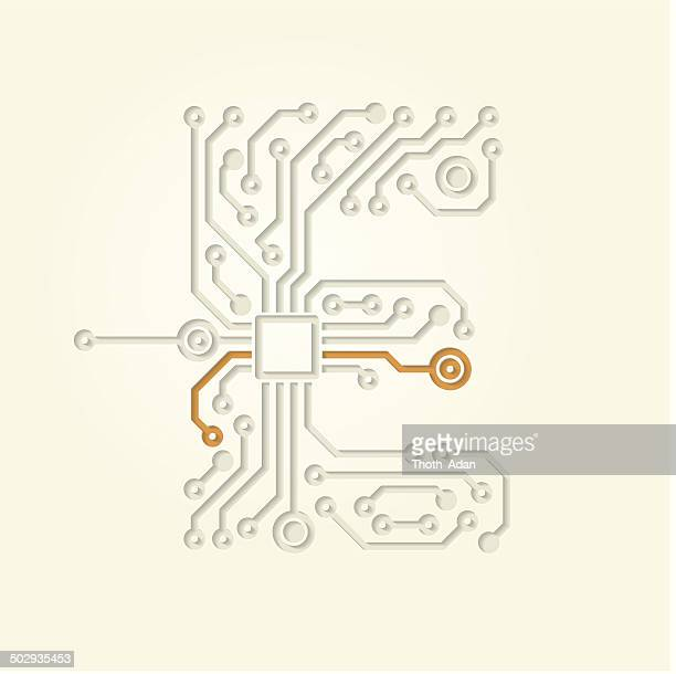 ilustraciones, imágenes clip art, dibujos animados e iconos de stock de letra e (abertura pistas de conductor electrónico) - letrae