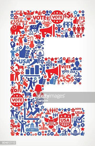 ilustraciones, imágenes clip art, dibujos animados e iconos de stock de letra e votación y las elecciones usa patriótica estadounidense icono patrón - letrae