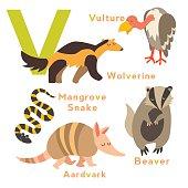V letter. English alphabet. Vector illustration, isolated on white background
