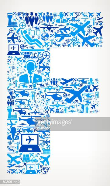Letter F Aviation and Air Planes Vector Graphic