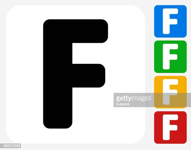 letter f icon flat graphic design - franc sign stock illustrations, clip art, cartoons, & icons