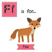 Letter F tracing. Standing Fox.